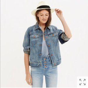 Madewell distressed denim jean jacket Small